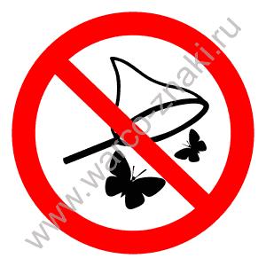 запрещающий знак на ловлю бабочек